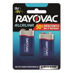 Bateria Rayovac Alcalina 9V 50% de Desconto na Segunda Bateria