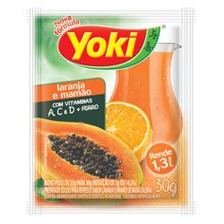 Refresco em Pó Yoki Sabor Laranja e Mamão 30 gramas