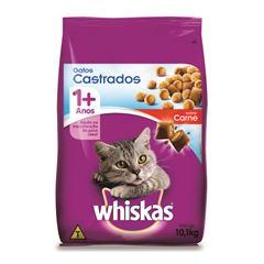Ração Whiskas Seco Sabor Carne Gatos Castrados Adulto.10,1kg