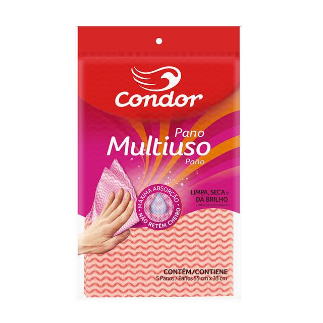 Pano Condor Multiuso Rosa com 5 unidades