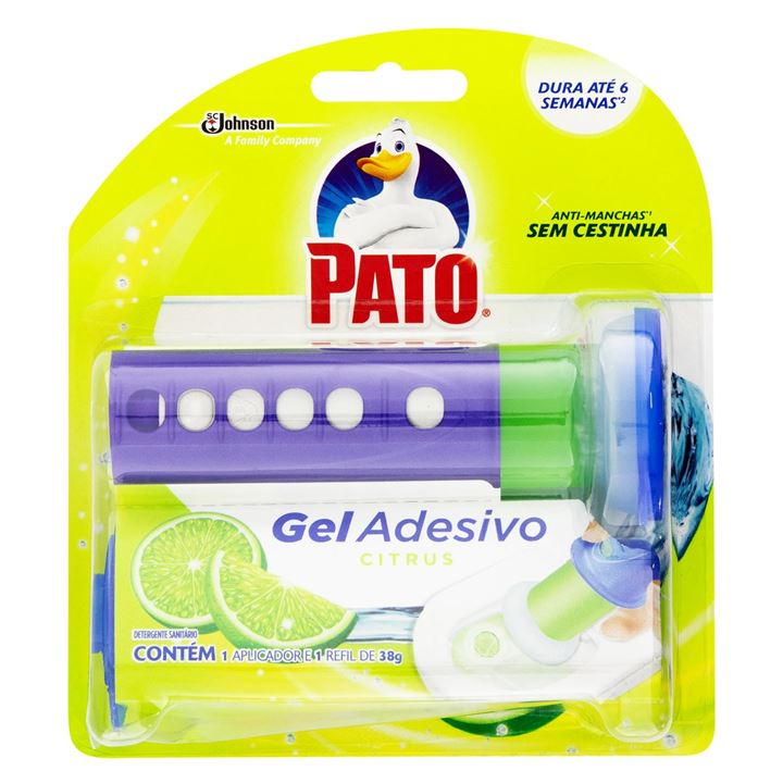 Desodorizador Sanitário Pato Gel Adesivo Citrus Aparelho 6 Discos