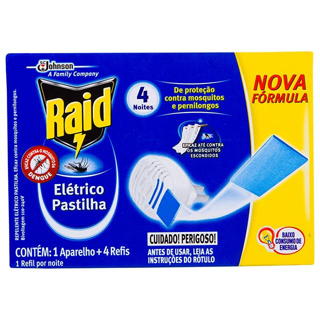 Repelente Elétrico Pastilha Raid 1 Aparelho + 4 Refis