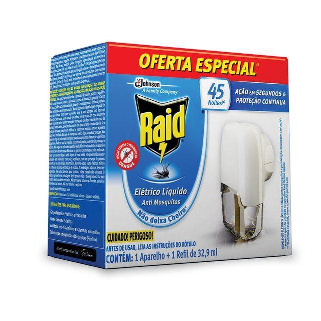 Repelente Elétrico Líquido Raid 1 Aparelho + 1 Refil 45 Noites Oferta