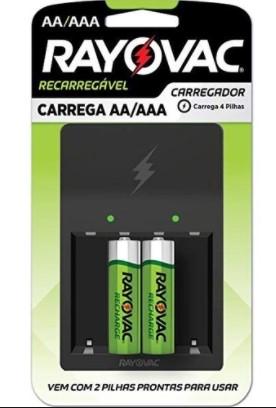 Carregador de Pilhas Rayovac Carrega AA/AAA