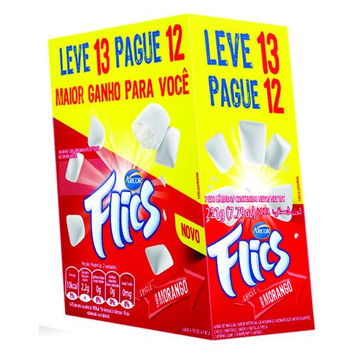 Chicle Arcor Flics Morango Promocional