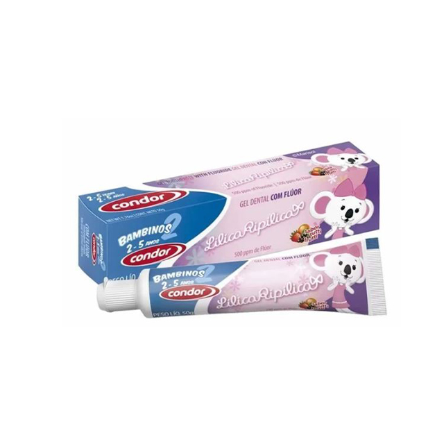 Gel Dental Condor 50g Kids Lilica Ripilica Sabor Tutti Fruti 2 a 5 anos