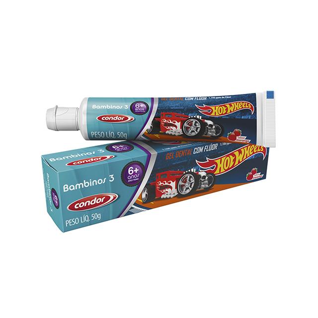 Gel Dental Condor 50g Kids + Hot Wheels Sabor Morango + 6 anos