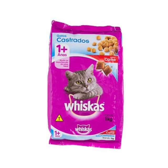 Ração Whiskas Seco Sabor Carne Gatos Castrados Adulto
