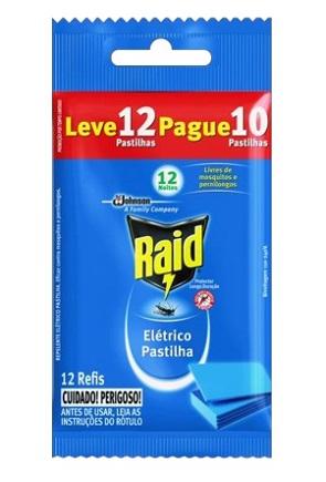 Repelente Elétrico Pastilha Raid Leve 12 Pague 10