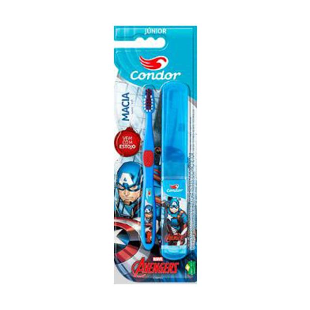 Escova Condor Dental Júnior Avengers Macia + Estojo