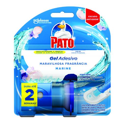 Desodorizador Sanitário Pato Gel Adesivo Aplicador + Refil Marine 2 discos