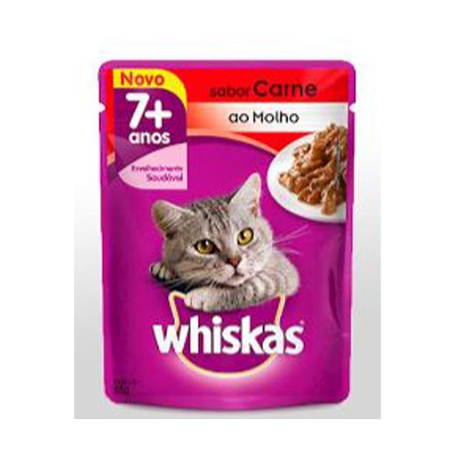 Ração Whiskas Sabor Carne 7+Anos Adulto