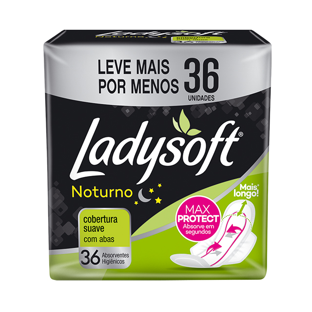Absorvente LadySoft Cobertura Suave Noturno com Abas Oferta