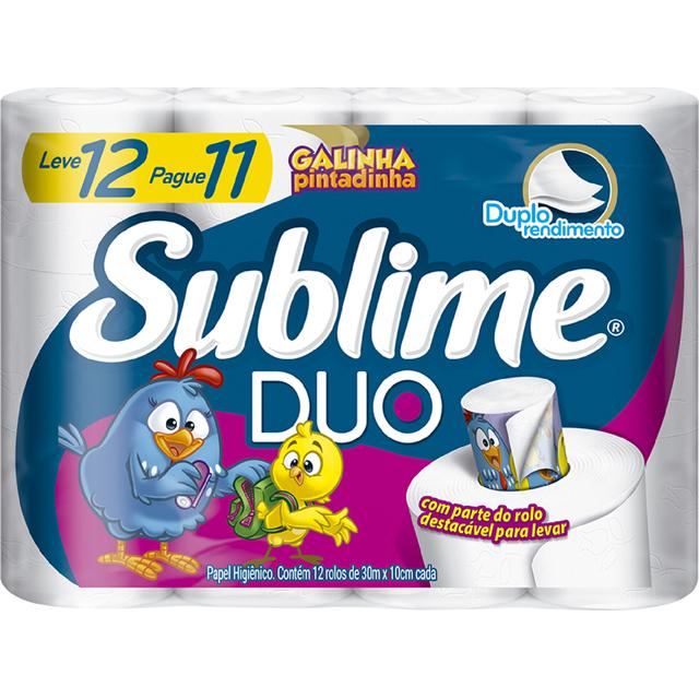 Papel Higiênico Softys Sublime Duo Folha Dupla Leve 12 pague 11