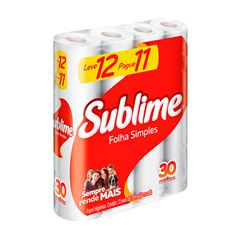 Papel Higiênico Softys Sublime Folha Simples Neutro 30M Leve 12 Pague 11