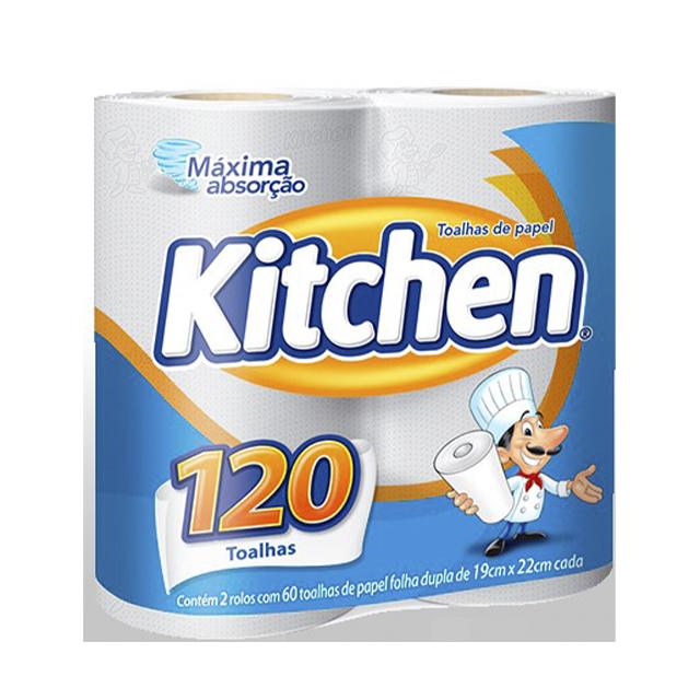 Papel Toalha Kitchen Folha Dupla 120 Toalhas