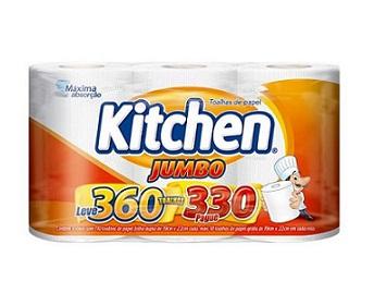 Papel Toalha Kitchen Jumbo Folha Dupla Leve 360 Pague 330
