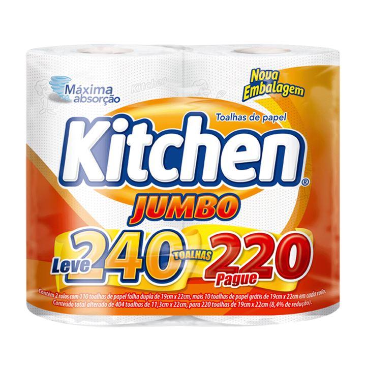 Papel Toalha Kitchen Jumbo Folha Dupla Leve 240 Pague 220