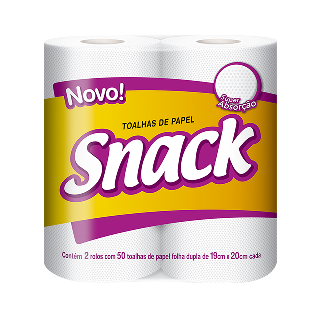 Papel Toalha Snack Folha Dupla 100 Toalhas