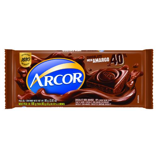 Chocolate Barra Arcor Meio Amargo 80g