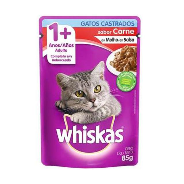 Ração Whiskas Sabor Carne 1+Anos Adulto Castrado