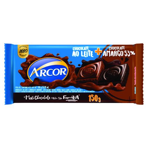 Chocolate Barra Arcor Tortuguita ao Leite + Amargo 53% 150g