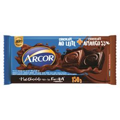 Chocolate Barra Arcor ao Leite + Amargo 53% 150g