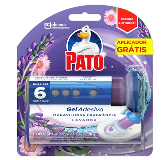 Desodorizador Sanitário Pato Gel Adesivo Citrus  6 Discos Aplicador Grátis