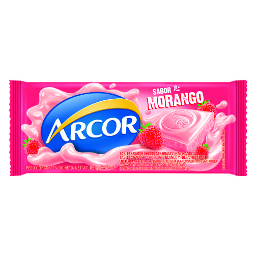Chocolate Barra Arcor Sabor Morango 80g
